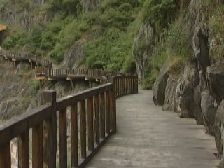 Shaanxi:  China:      Ancient Plank Road