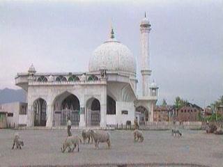 Srinagar:  Jammu and Kashmir:  India:      Hazratbal Mosque