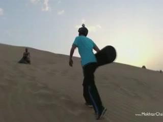 利雅德:  沙特阿拉伯:      Snowboarding in the desert