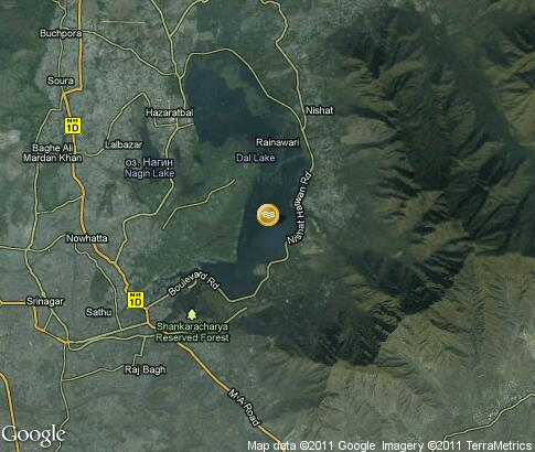 map: Dal Lake in Kashmir