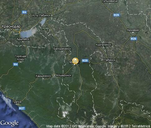 map: Dolmens in National Museum of Adygea