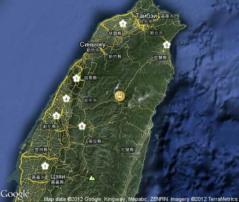 map: High-speed Railway in Taiwan