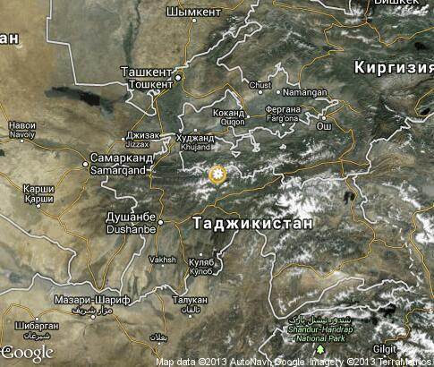 map: Winter in Tajikistan