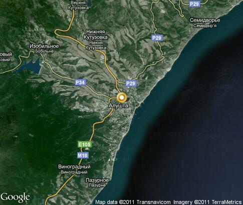 карта алушты со спутника