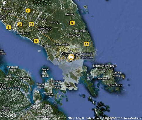 Singapore Satellite Picture on Detailed Interactive Map Singapore