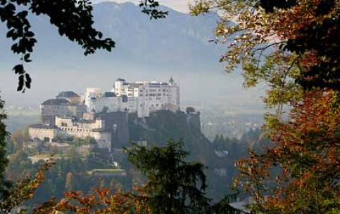 Hohensalzburg Castle (1007) is located on a hilltop of Festungberg mountain. The magnificent view to the city opens from here
