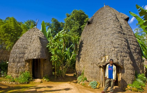 Highland tribe Dorze, one of multinational Ethiopia tribes, consists of about 20 thousand of people. Dorze houses, resembling huge bee hives, are built of bamboo and reach a height of 12 m