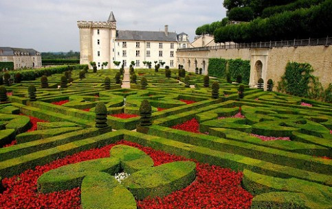 Gardens of Villandry castle are the famous three-level gardens built in the Renaissance style. The upper level is Water Garden. The Garden of Love lies below. At the lower level is the world's largest kitchen-garden