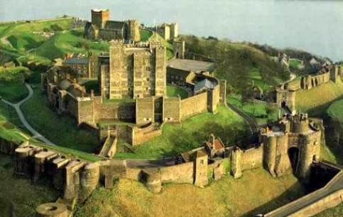 Dover Castle, one of the largest in Great Britain, was founded on the shore of Dover Strait in 12th c. and has been called the