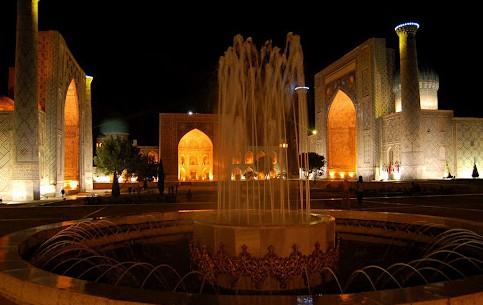 サマルカンド:  ウズベキスタン:      Fountain in Samarkand