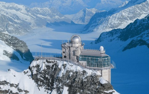Jungfraujoch is the most high mountain railway station in Europe, a World Heritage Site. Observatory, Ice Palace, observation area with breath-taking panorama of the Alps