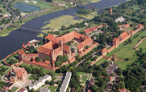 Malbork Castle was founded in 13th century, it's notable model of Brick Gothic, the largest brick castle in the world; UNESCO World Heritage Site.