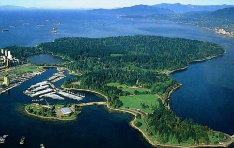 Stanley Park - a popular holiday destination of local residents and tourists. There are beautiful lakes and many wild birds and animals, including raccoons, squirrels, coyotes, geese