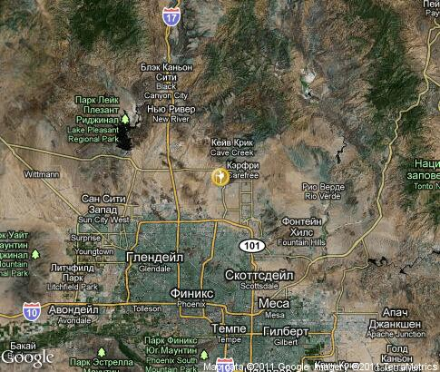 map: Balloon rides near Phoenix
