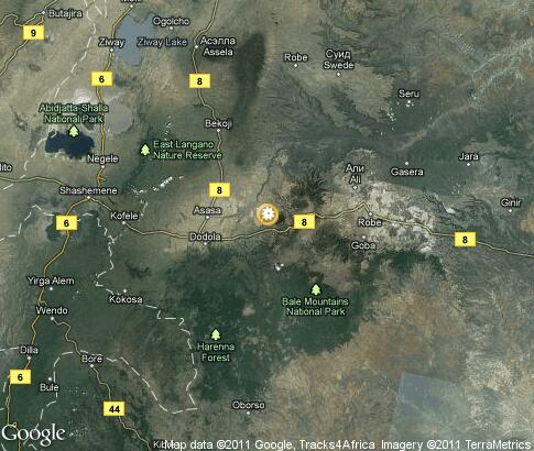 map: Bale Mountains National Park