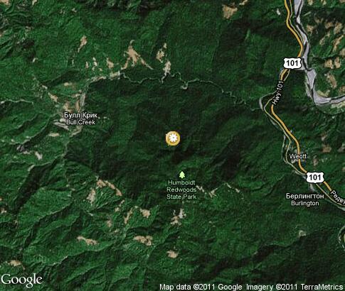 红木国家公园: 卫星地图